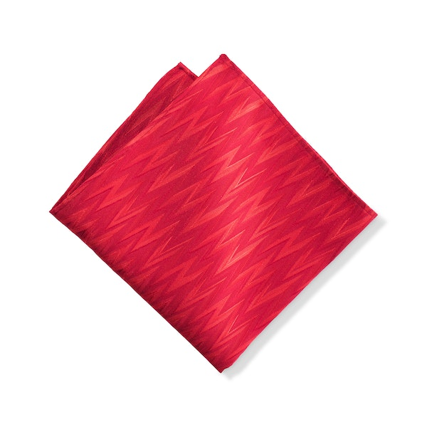 Ruby Valentino Zig Zag Pocket Square