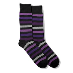 Purple Multi Color Wide Stripe Socks