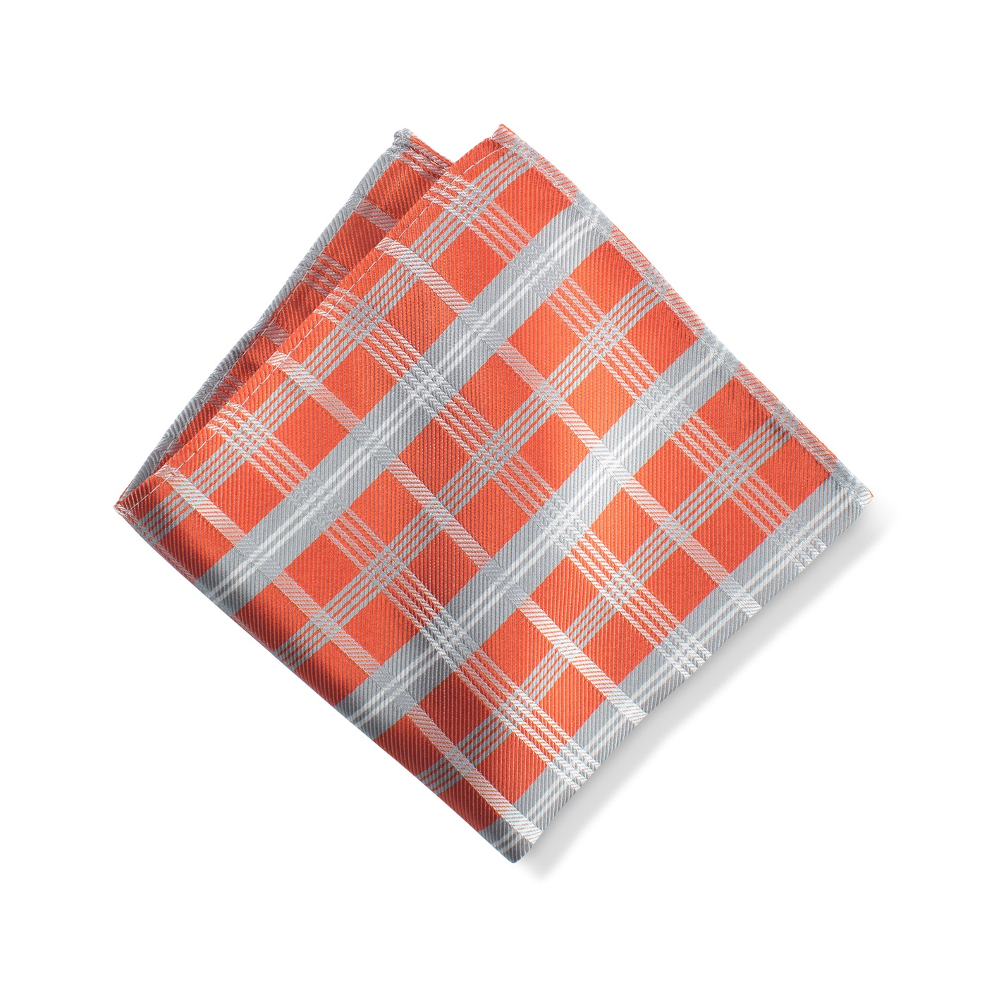 Dark Orange Plaid Pocket Square