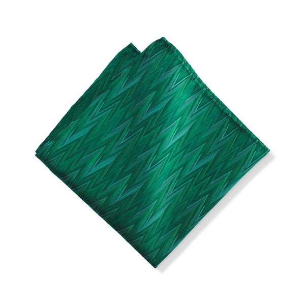 Emerald Zig Zag Pocket Square