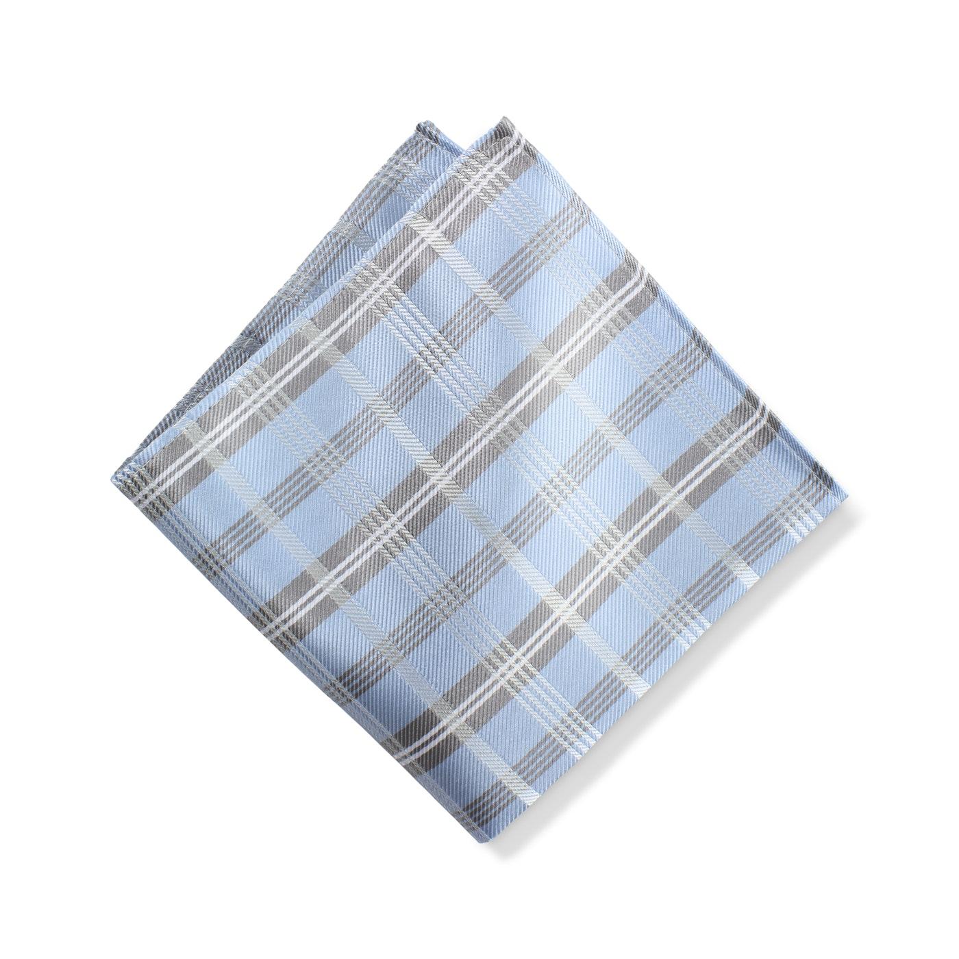 Ice Blue Plaid Pocket Square