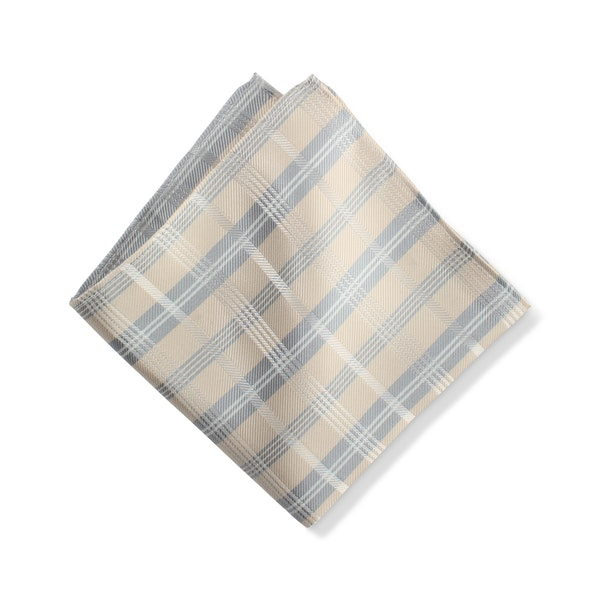 Champagne Plaid Pocket Square