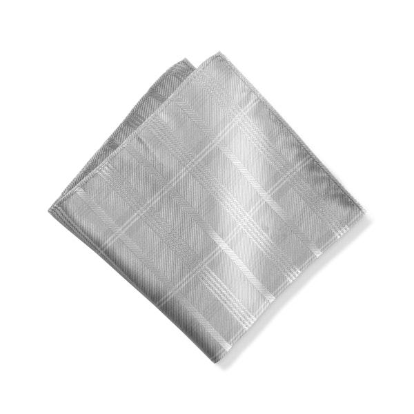 Platinum Plaid Pocket Square