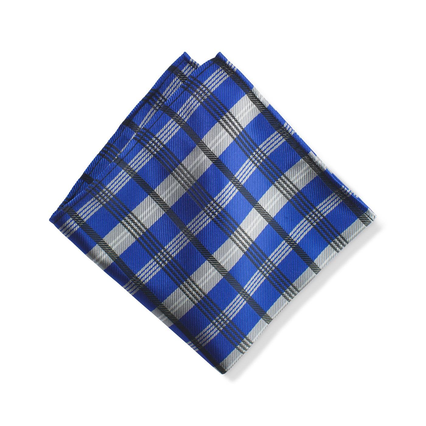 Royal Blue Plaid Pocket Square