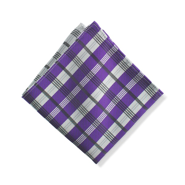 Viola Plaid Pocket Square