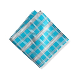 Aqua Plaid Pocket Square