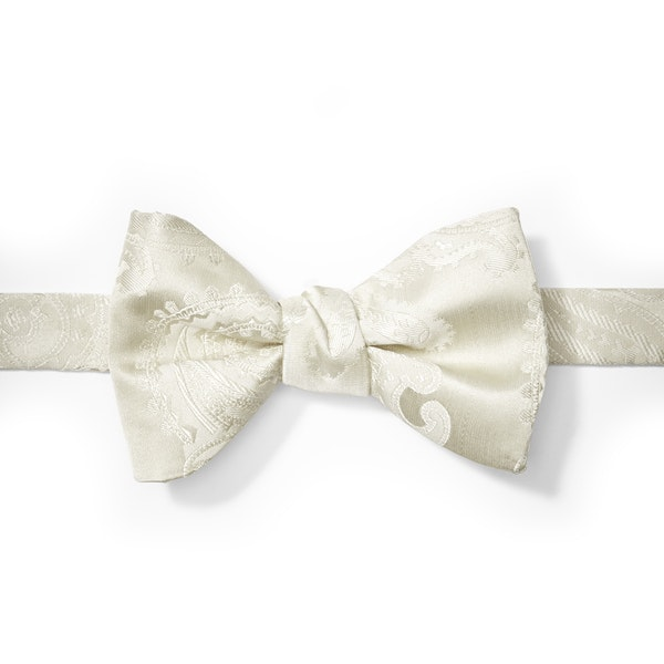 Ivory Paisley Pre-Tied Bow Tie