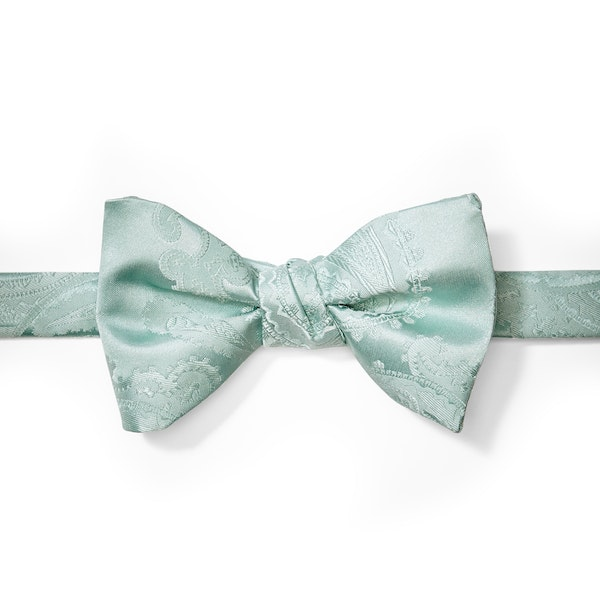Mint Paisley Pre-Tied Bow Tie
