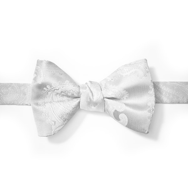 White Paisley Pre-Tied Bow Tie