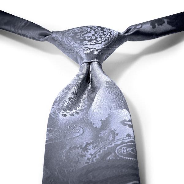 Pewter Paisley Pre-Tied Tie