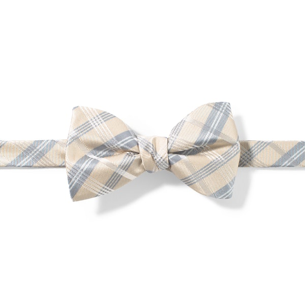 Champagne Plaid Pre-Tied Bow Tie
