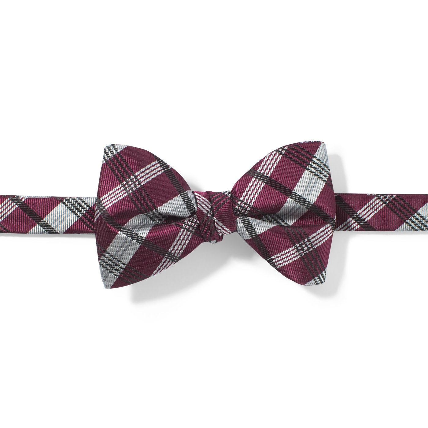 Wine-Sangria Plaid Pre-Tied Bow Tie