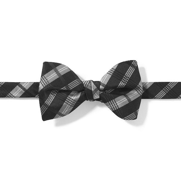 Black Plaid Pre-Tied Bow Tie