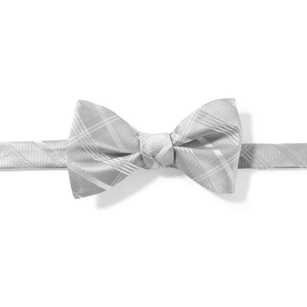 Platinum Plaid Pre-Tied Bow Tie