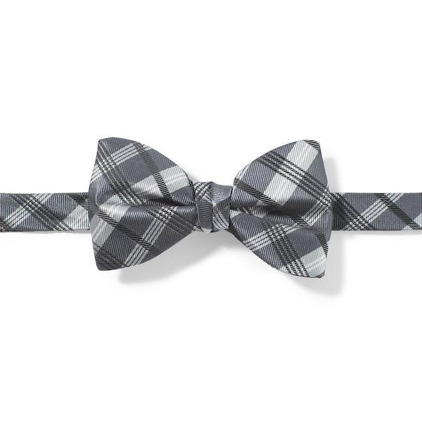 Pewter Plaid Pre-Tied Bow Tie
