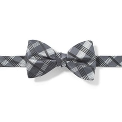 Charcoal-Pewter Plaid Pre-Tied Bow Tie