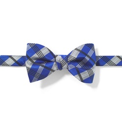 Royal Blue Plaid Pre-Tied Bow Tie