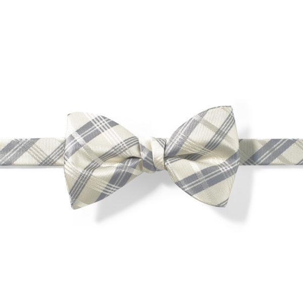 Ivory Plaid Pre-Tied Bow Tie