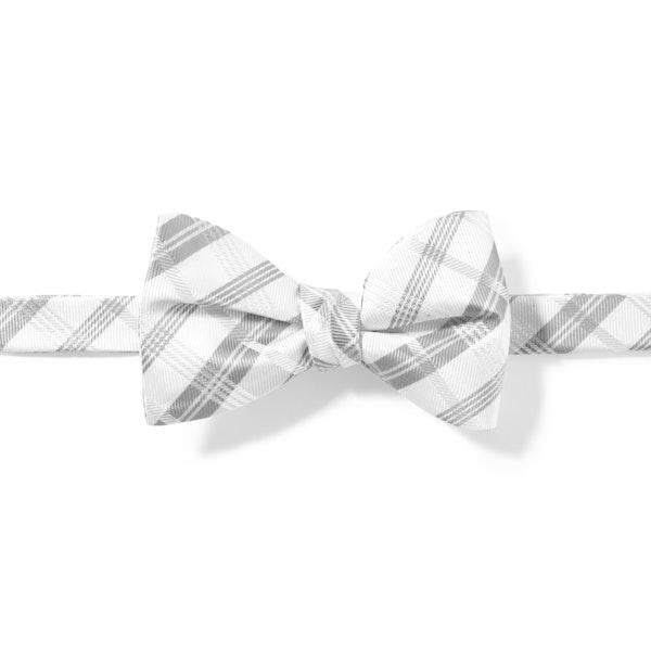 White Plaid Pre-Tied Bow Tie