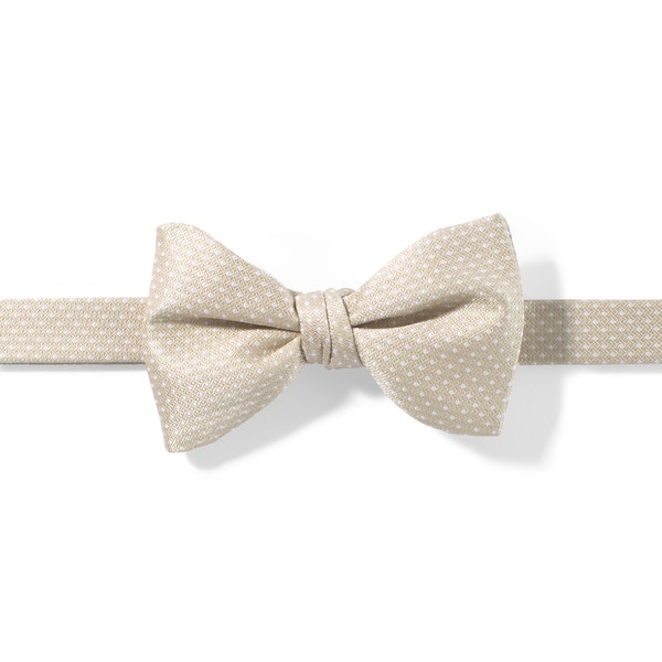 Champagne and White Pin Dot Pre-tied Bow Tie