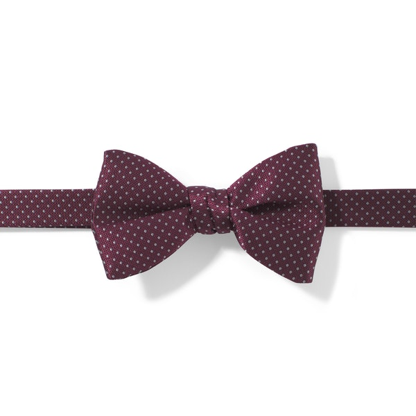 Sangria and White Pin Dot Pre-Tied Bow Tie