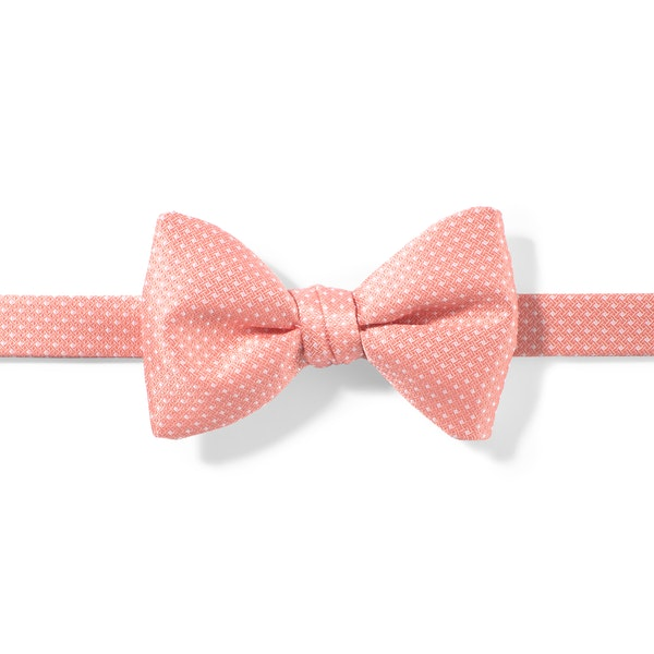 Coral Reef and White Pin Dot Pre-Tied Bow Tie