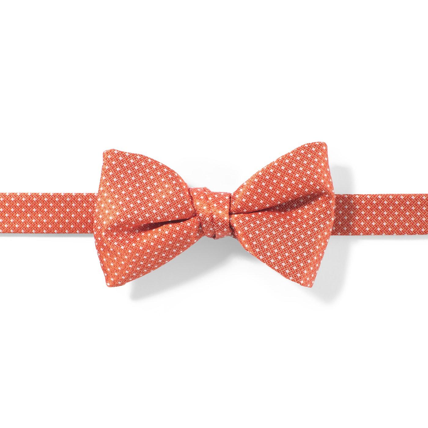 Dark Orange-Jalepeno and White Pin Dot Pre-tied Bow Tie