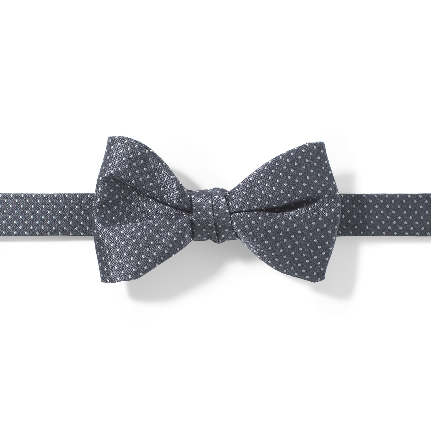 Charcoal-Pewter and White Pin Dot Pre-tied Bow Tie