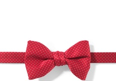 Ruby Valentino and White Pin Dot Pre-tied Bow Tie