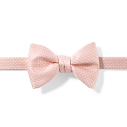 Blush and White Pin Dot Pre-tied Bow Tie