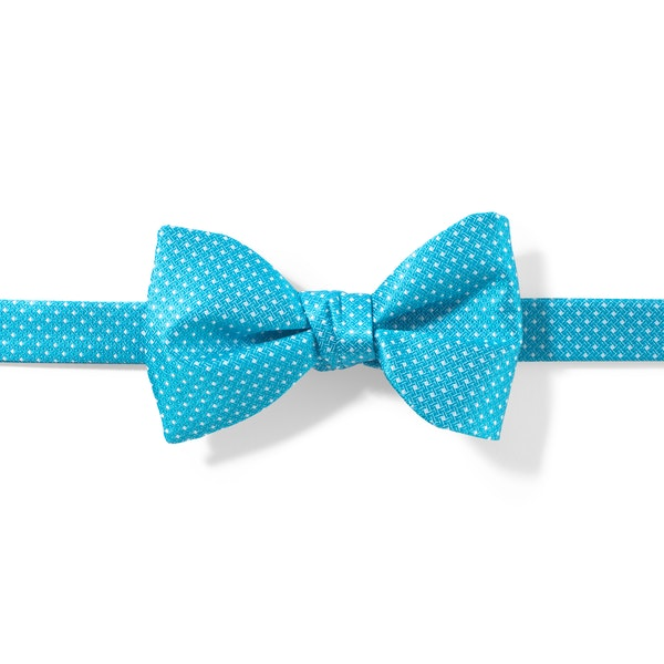 Aqua-Malibu and White Pin Dot Pre-Tied Bow Tie