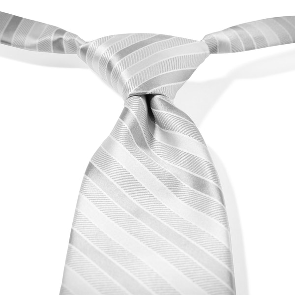 Platinum Striped Pre-Tied Tie
