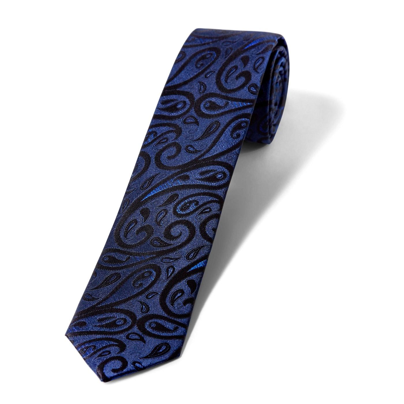 Skinny Navy with Black Paisley Tie