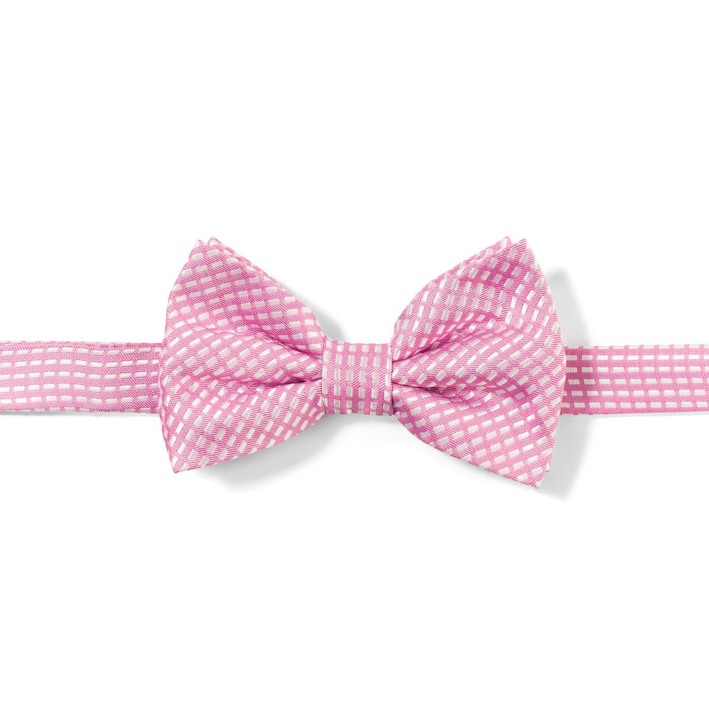 Pink Diagonal Dobby Pre-Tied Bow Tie