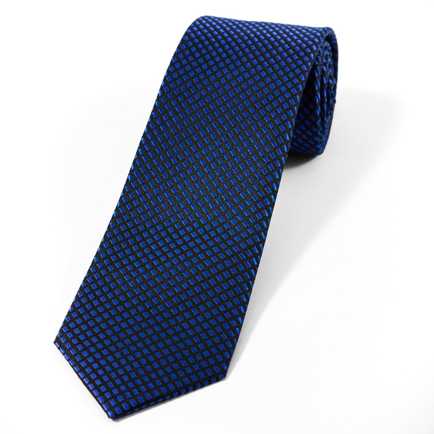 Blue Diagonal Dobby Tie