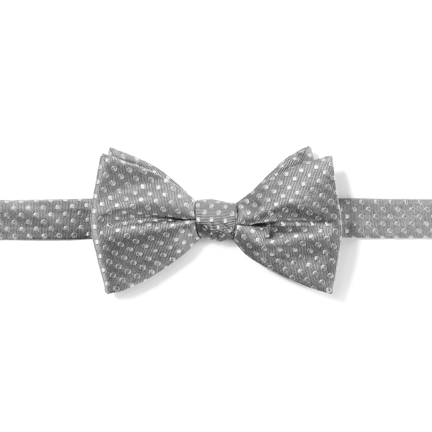 Silver Polka Dot Pre-Tied Bow Tie