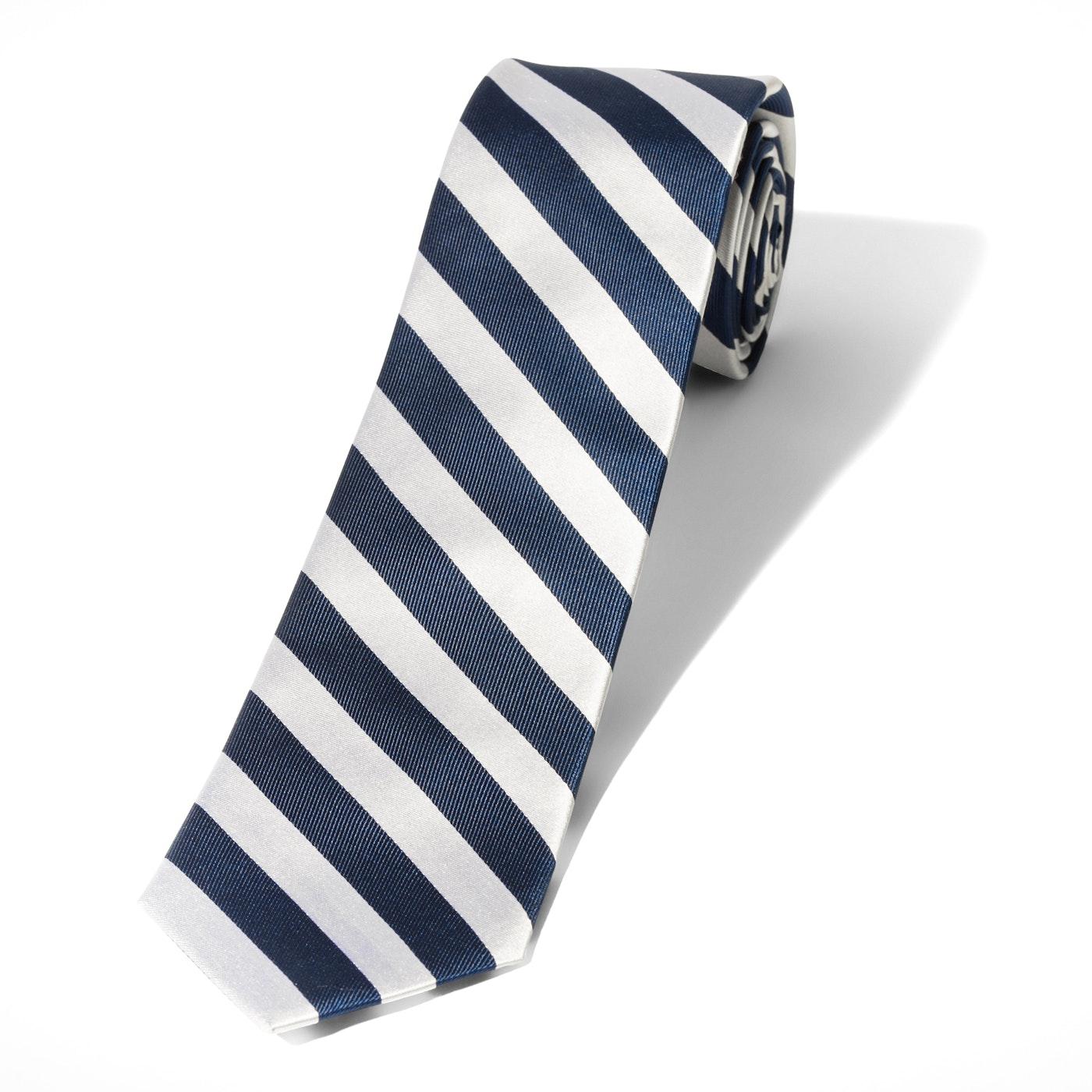 White and Navy Wide Stripe Tie
