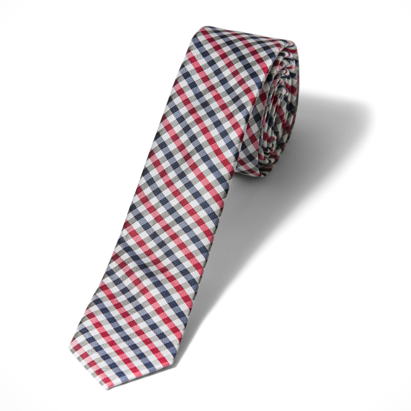 Red Gingham Skinny Tie