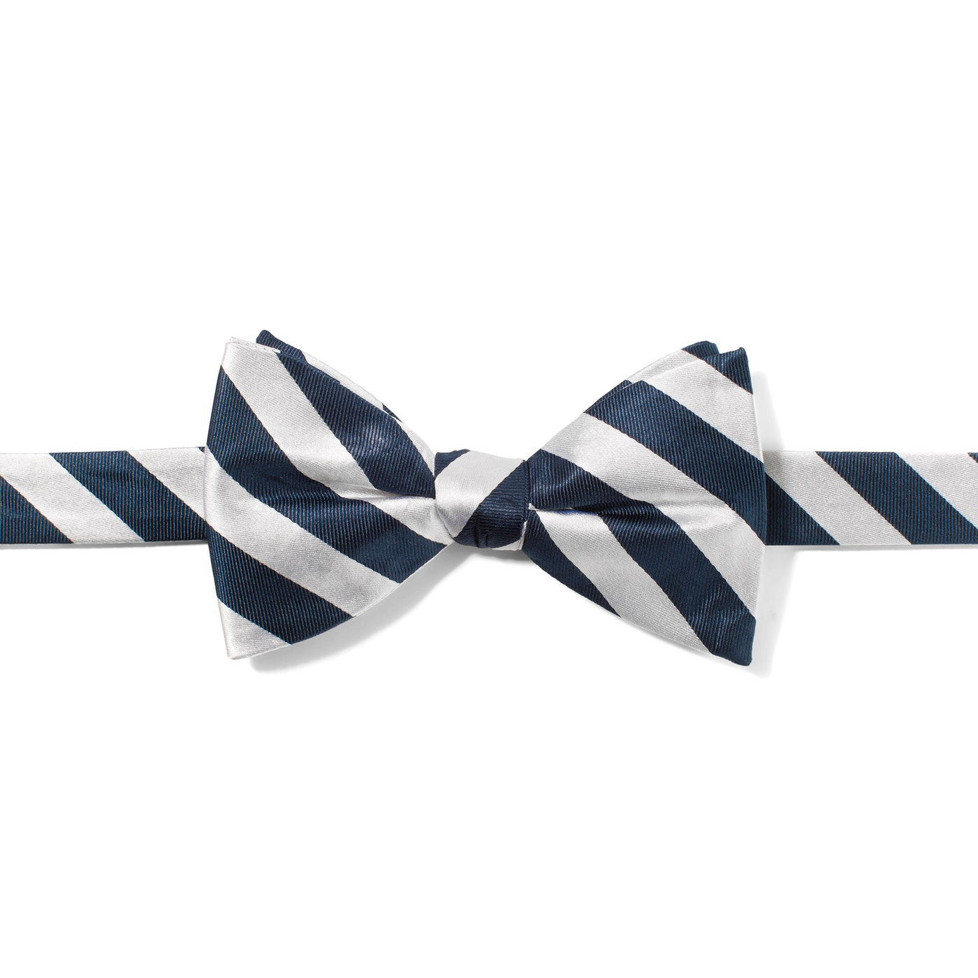 White and Navy Wide Stripe Pre-Tied Bow Tie