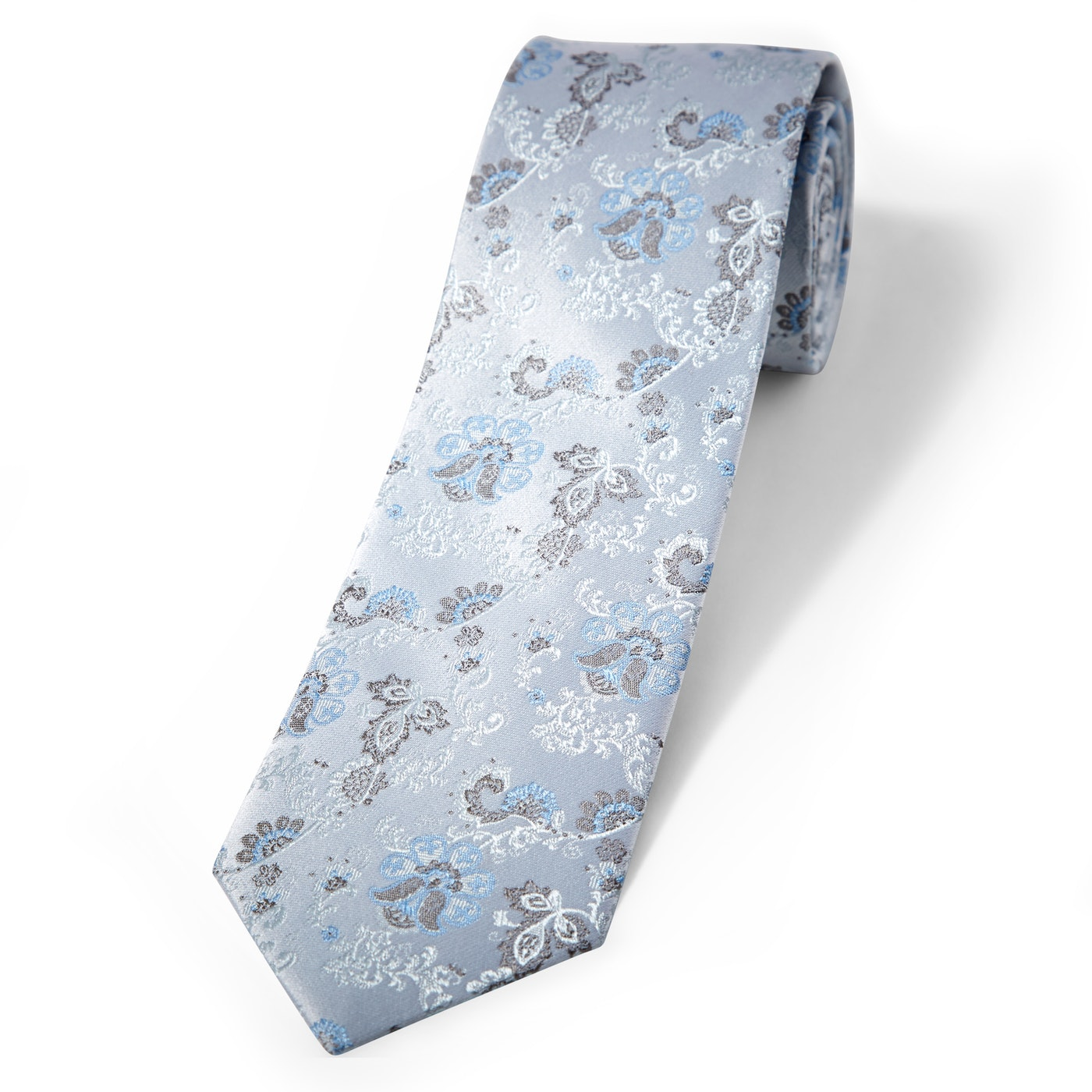 Silver Mist Antique Flowers Tie