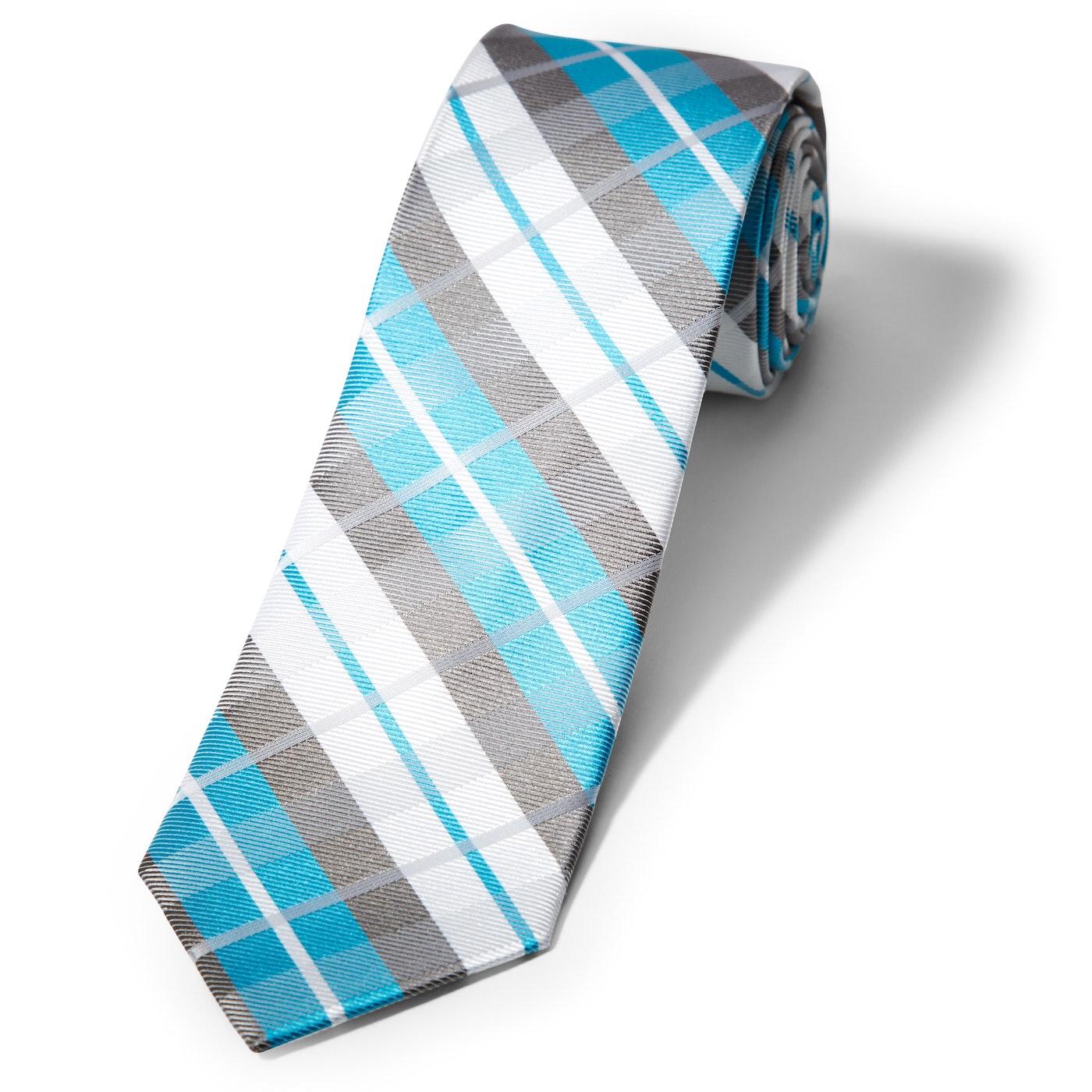 Aqua Oversized Plaid Tie