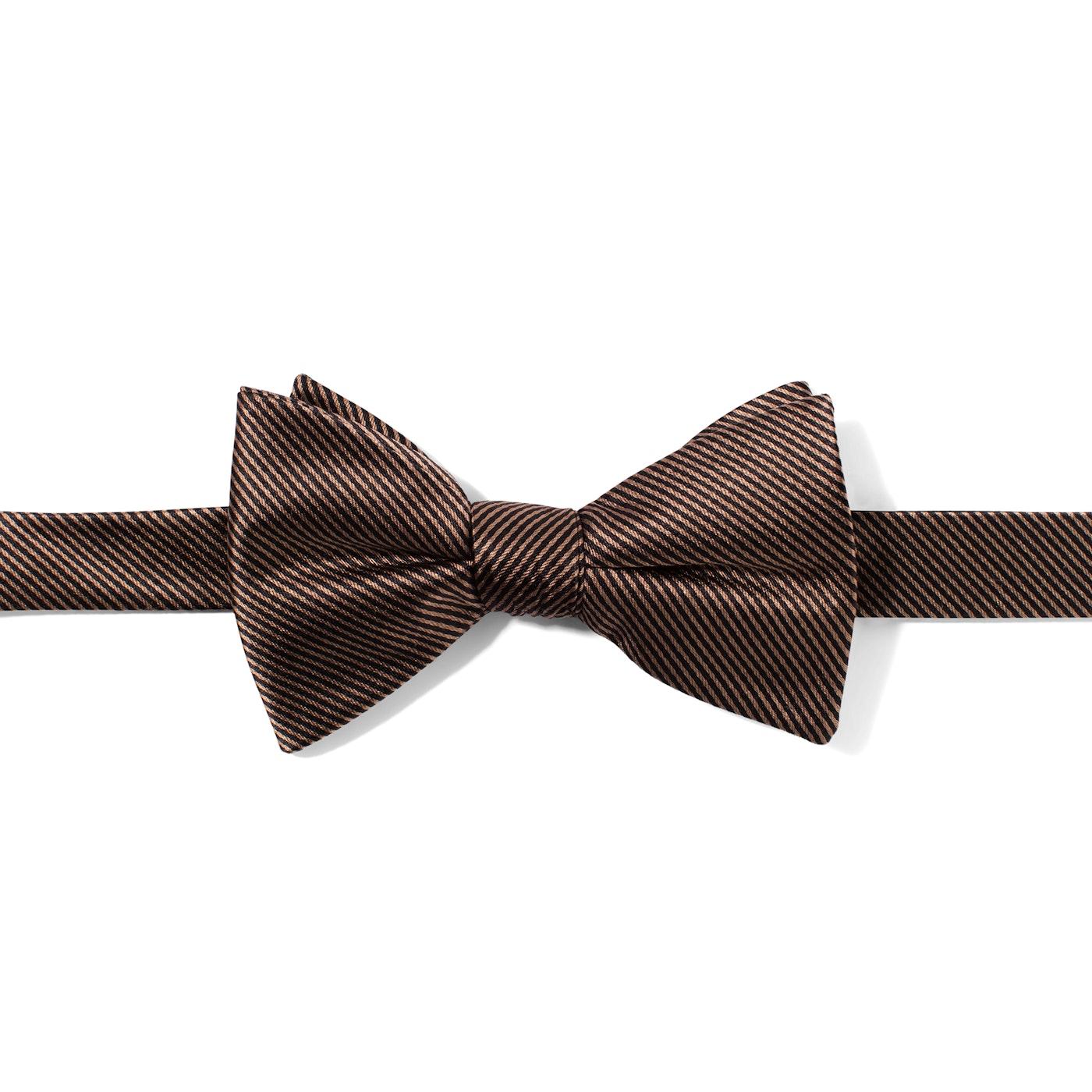 Taupe Thin Stripe Bow Tie