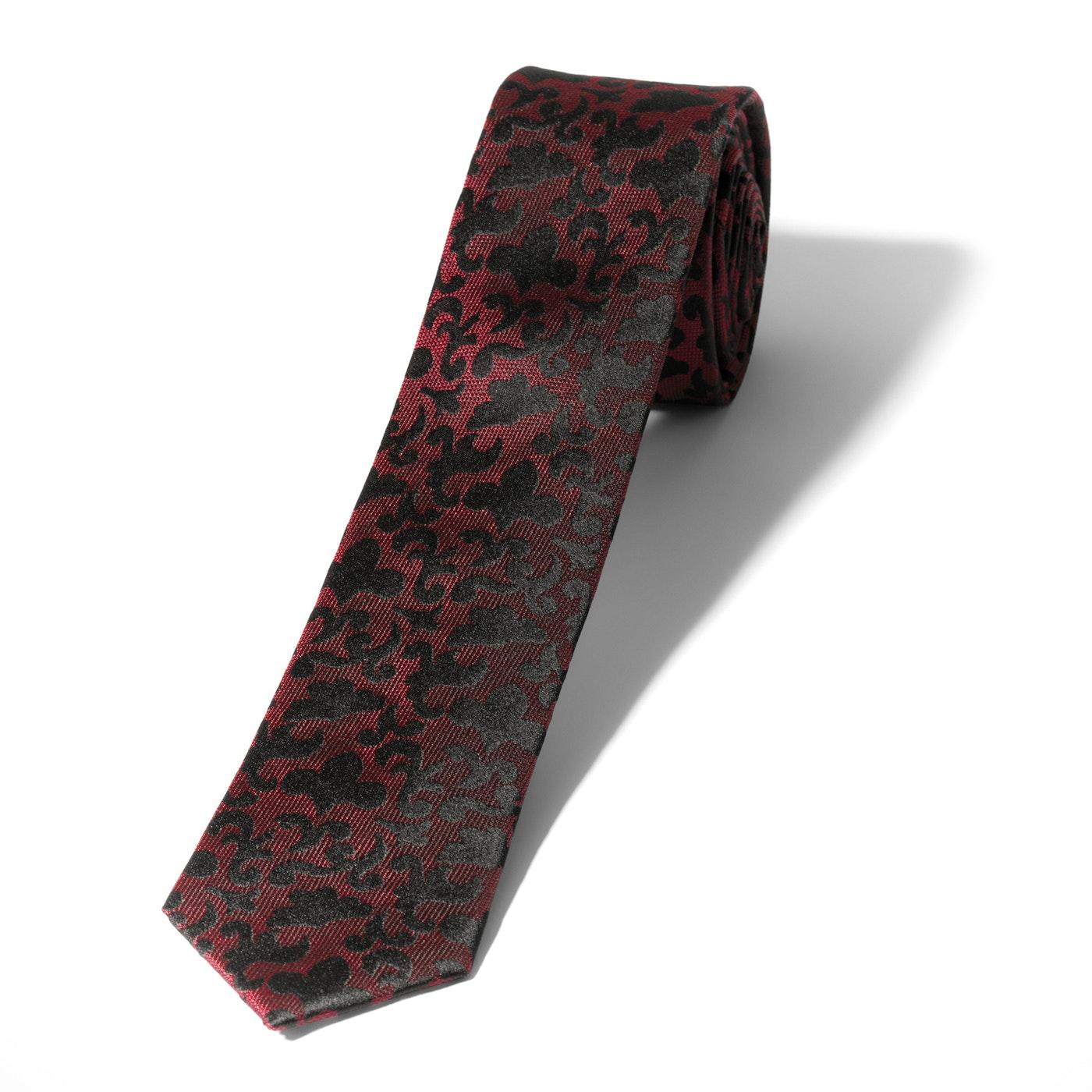 Wine Vintage Brocade Skinny Tie