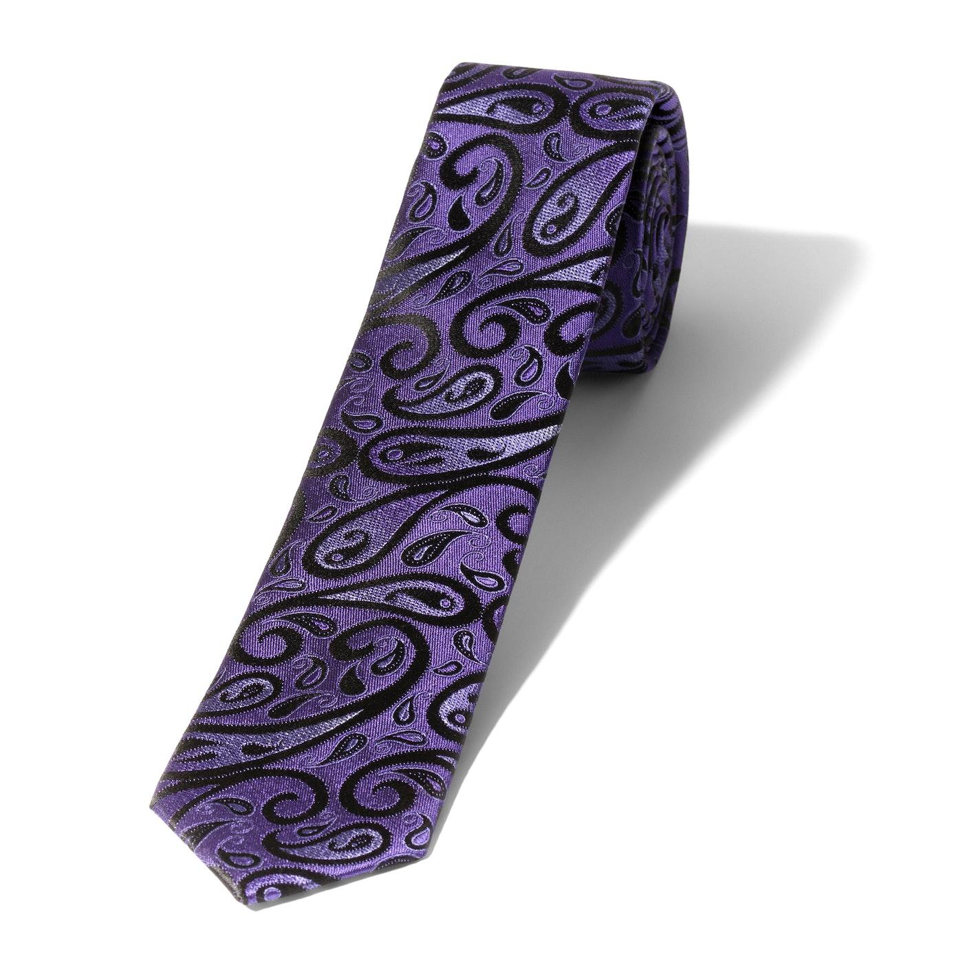 Skinny Purple Modern Paisley Tie