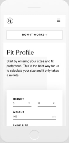 generation tux mobile screen shot of their fit profile