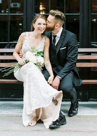 Newly Wed Couple in GenerationTux Suit Rental