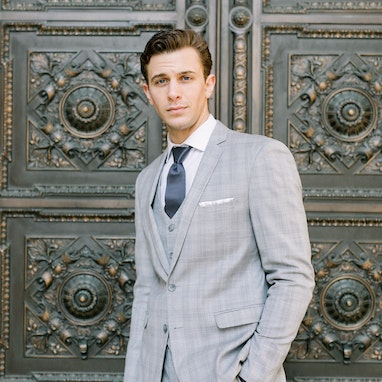 Light Gray Plaid Notch Suit