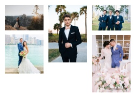 Grid of wedding photos featuring grooms wearing menguin suits and tuxes