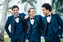 Groom with groomsmen looking sharp in their tuxes