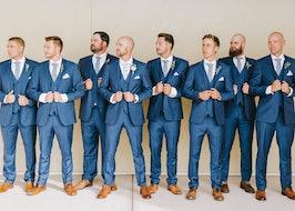 Weading party wearing Mystic Blue Peak Lapel Suit